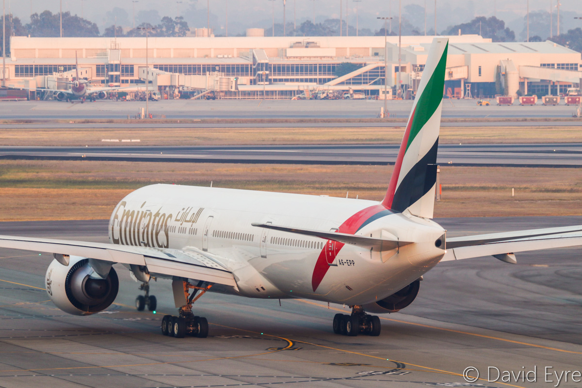 A6-EPP Boeing 777-31H ER (MSN 42335/1418) of Emirates, at Perth Airport - Thu 3 November 2016. ** First visit to Perth and Australia by A6-EPP ** Flight EK425 to Dubai, seen at 5:42am taxying out to runway 21. Delivered to Emirates on 30 July 2016. Emirates switched back to Boeing 777-300ER aircraft on the morning EK424/425 service from 30 October to 30 November 2016, but will return to A380 operations after that. Photo © David Eyre