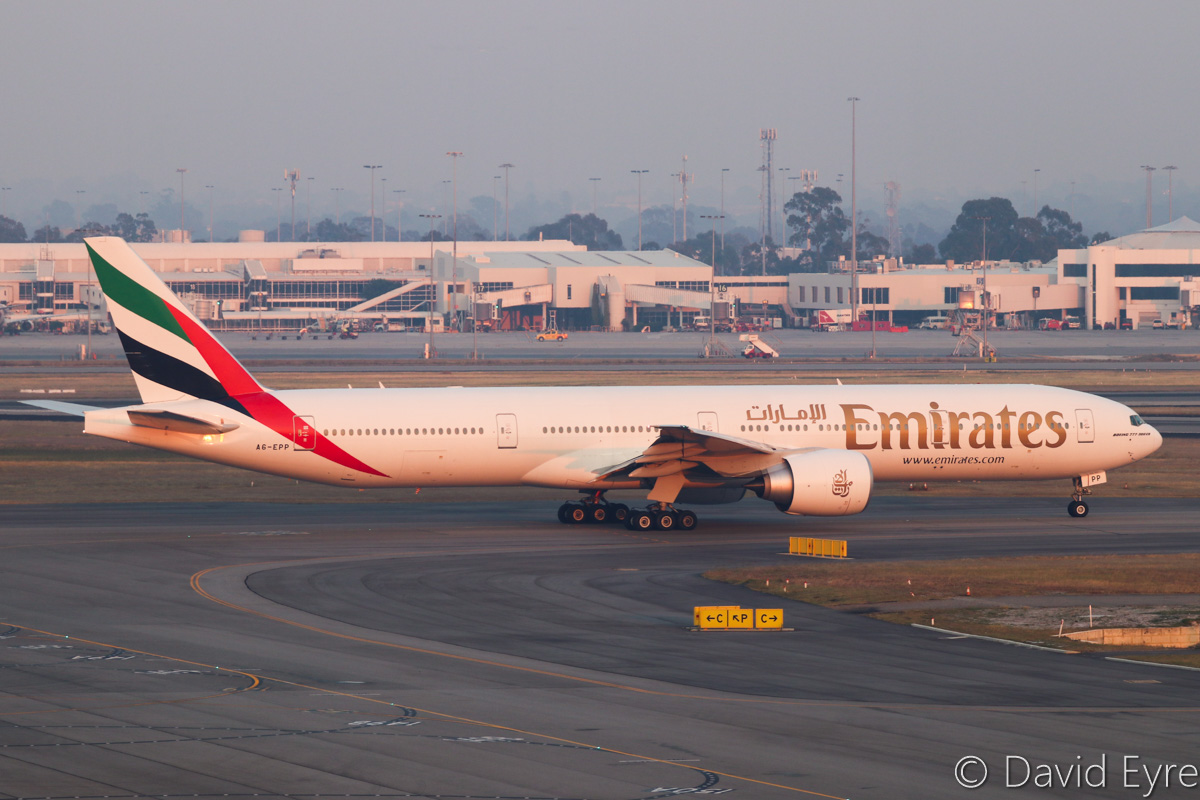 A6-EPP Boeing 777-31H ER (MSN 42335/1418) of Emirates, at Perth Airport - Thu 3 November 2016. ** First visit to Perth and Australia by A6-EPP ** Flight EK425 to Dubai, seen at 5:43am taxying out to runway 21. Delivered to Emirates on 30 July 2016. Emirates switched back to Boeing 777-300ER aircraft on the morning EK424/425 service from 30 October to 30 November 2016, but will return to A380 operations after that. Photo © David Eyre