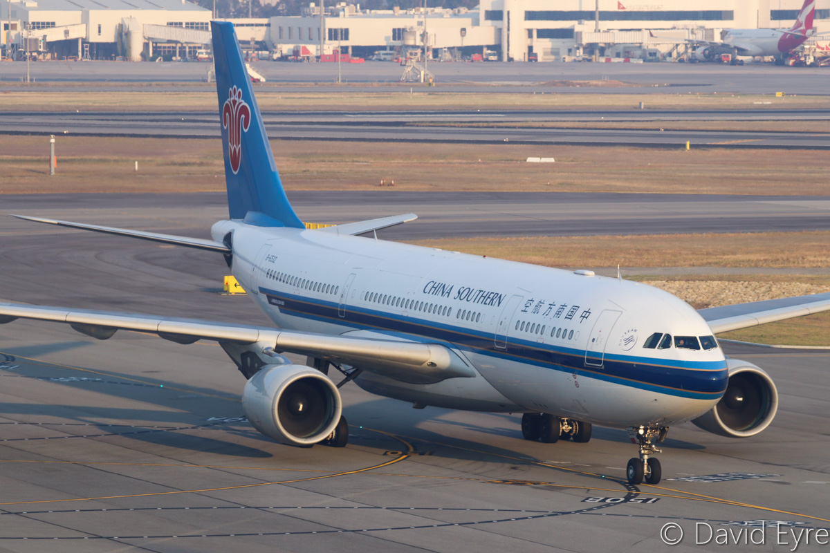 B-6532 Airbus A330-223 (MSN 1234) of China Southern Airlines at Perth Airport – Thu 3 November 2016. Flight CZ319 from Guangzhou taxying in at 6:13am. Photo © David Eyre