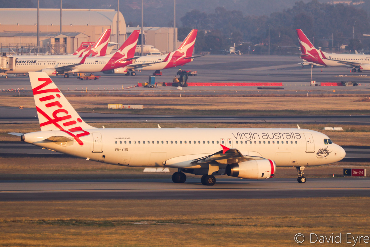 VH-YUD Airbus A320-232 (MSN 1922) of Virgin Australia Regional Airlines, named 'Port Beach', at Perth Airport - Thu 3 November 2016. FIFO flight VA9337 to Coondewanna, taxying out to runway 21 for departure at 6:01am. Photo © David Eyre