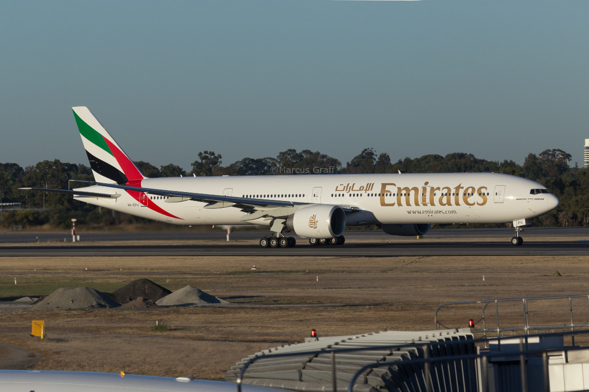 A6-EPU Boeing 777-31H ER (MSN 42340/1441) of Emirates, at Perth Airport – Mon 14 November 2016. **First visit to Perth by A6-EPU**. This aircraft was new at the time of this photo, having been delivered to Emirates on 4-5 November 2016. Flight EK425 to Dubai, taking off from runway 03 at 5:45am. Photo © Marcus Graff
