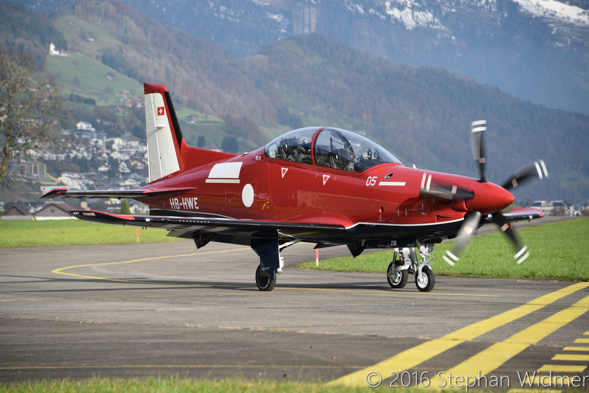 A54-005/HB-HWE Pilatus PC-21 (MSN 238) of the Royal Australian Air Force, at Stans, Switzerland - Tue 15 November 2016. Making its first flight. Photo © Stephan Widmer