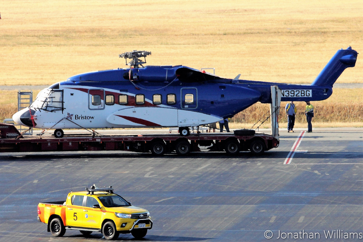 N392BG Sikorsky S-92A Helibus (MSN 920105) of Bristow Helicopters, at Perth Airport - Wed 23 November 2016. RA-82079 Antonov An-124-100 of Volga-Dnepr picked up two Sikorsky S-92s, VH-ZUJ and N392BG, from Bristow's US base at Acadiana Regional Airport, New Iberia, Louisiana on Sunday 20 November 2016. It flew via Houston (Texas), Honolulu (Hawaii), Port Moresby (PNG) to Perth, where it landed at 11:57am today. After the helicopters were offloaded from the An-124, they were loaded onto flatbed trucks and taken by road to Broome. N392BG was built in 2009, ex N2082Q, PR-JAE and C-GICH. Photo © Jonathan Williams