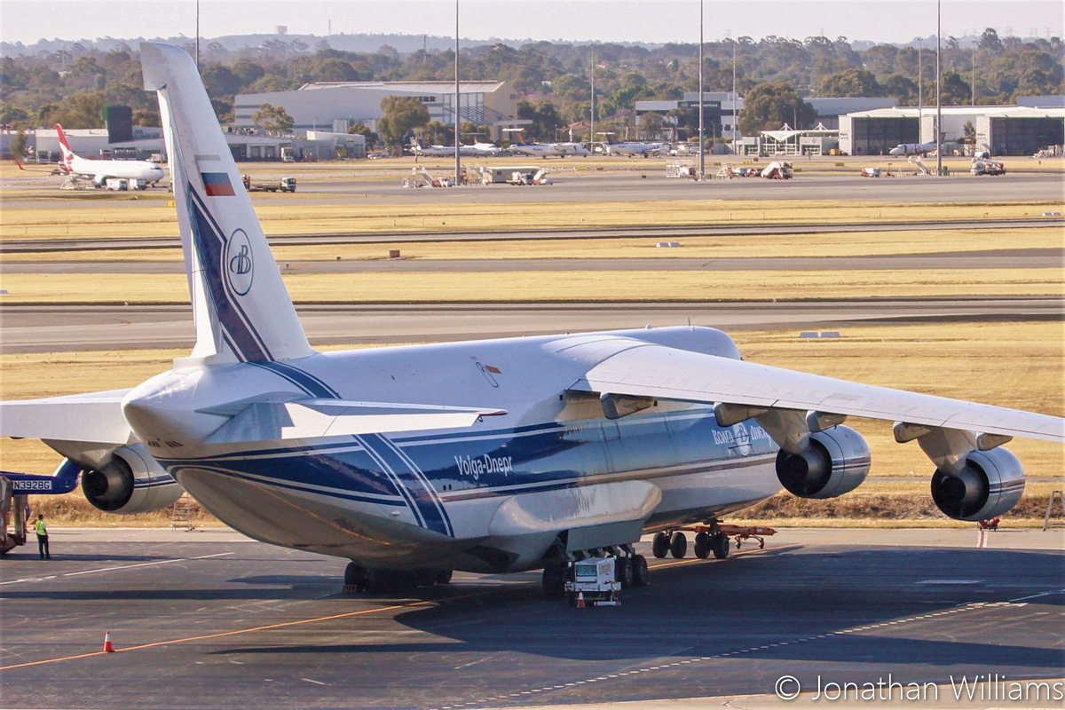 RA-82079 Antonov An-124-100 (MSN 9773052062157) of Volga-Dnepr Airlines, at Perth Airport - Wed 23 November 2016. The Antonov An-124 picked up two Sikorsky S-92s, VH-ZUJ and N392BG, from Bristow's US base at Acadiana Regional Airport, New Iberia, Louisiana on Sunday 20 November 2016. It flew via Houston (Texas), Honolulu (Hawaii), Port Moresby (PNG) to Perth, where it landed at 11:57am today. After the helicopters were offloaded from the An-124, they were loaded onto flatbed trucks and taken by road to Broome. Photo © Jonathan Williams