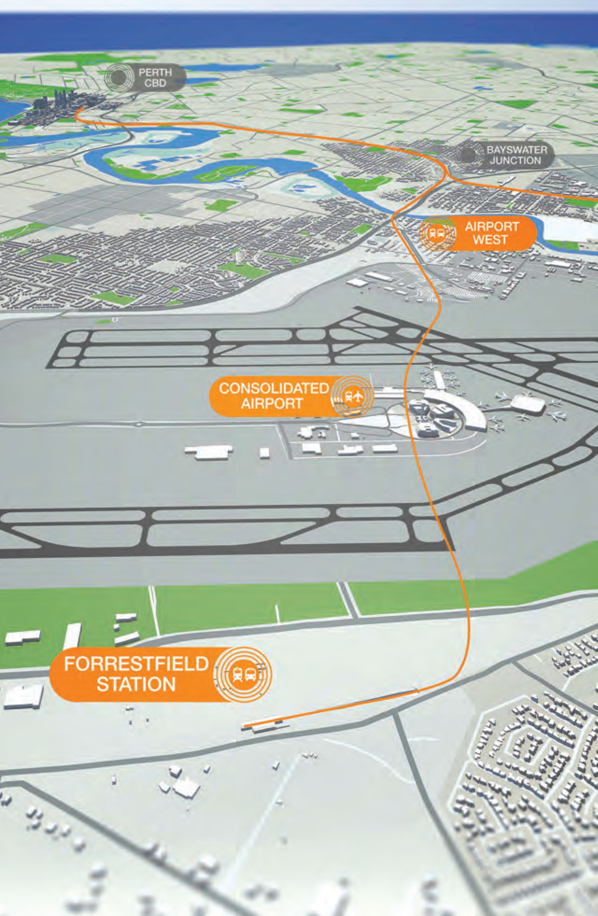 Forrestfield Airport Link map.
