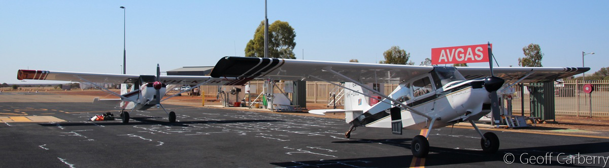 VH-KYH / SPOTTER 645 (MSN 566-2014) and VH-DXZ / SPOTTER 641 (MSN 512-2008) American Champion 8GCBC Scout of the Department of Parks and Wildlife, at Meekatharra Airport - Fri 30 September 2016. Part of a fleet of American Champion 8GCBC Scout aircraft used as fire spotter aircraft for forest patrols in the south-west of WA. Photo © Geoff Carberry