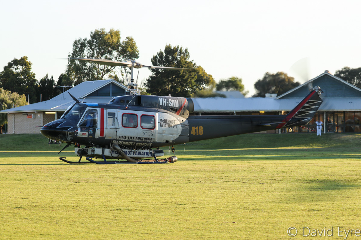VH-SMI / HELITACK 418 Bell 214B1 BigLifter (MSN 28011) of McDermott Aviation, at Warradale Park, Landsdale – Wed 23 November 2016. About to head back to Jandakot after assisting firefighters in fighting a suspiciously-lit bushfire in Lexia, at the Gnangara pine plantation, that burnt through 100 hectares. Normally operated for the NSW Rural Fire Service, this firefighting helicopter is currently based at Jandakot, where it was also based for the 2015/16 summer. Built in 1976, ex LN-OSW, P2-OSW, LN-OSW, C-GTWI. Photo © David Eyre