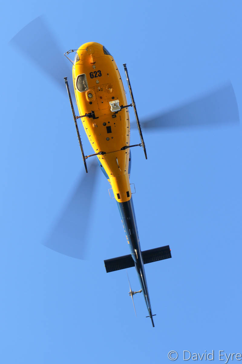 VH-YUQ / FIREBIRD 623 Eurocopter AS355F-1 Twin Squirrel (MSN 5057) owned by McDermott Aviation, contracted to WA Government, at Warradale Park, Landsdale - Wed 23 November 2016. Assisting firefighters in fighting a suspiciously-lit bushfire in Lexia, at the Gnangara pine plantation, that burnt through 100 hectares. The FIREBIRD aerial command and control helicopters coordinate firefighting operations. Built in 1981, ex N281AP, N117LB. Photo © David Eyre