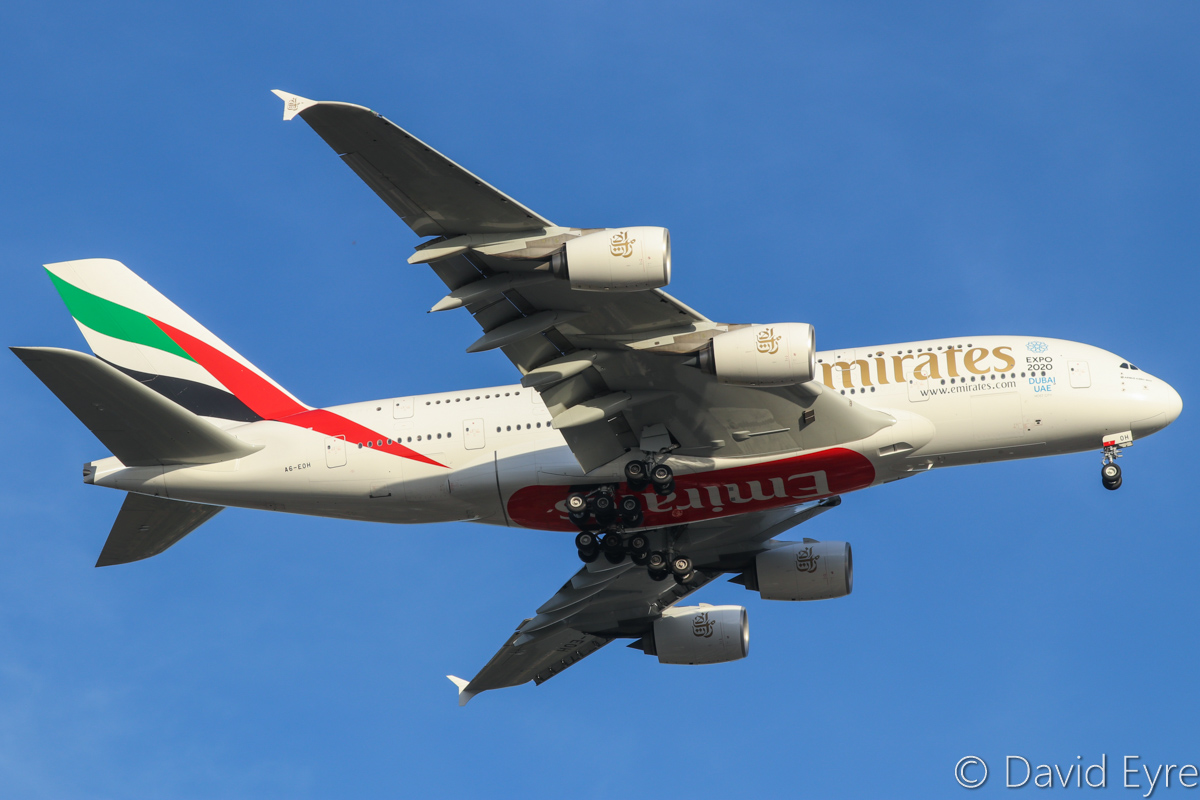 A6-EOH Airbus A380-861 (MSN 174) of Emirates, over Guildford – Fri 2 December 2016. Flight EK420 at 700 feet over Guildford at 6:10pm, on final approach to Perth Airport's runway 21. Photo © David Eyre