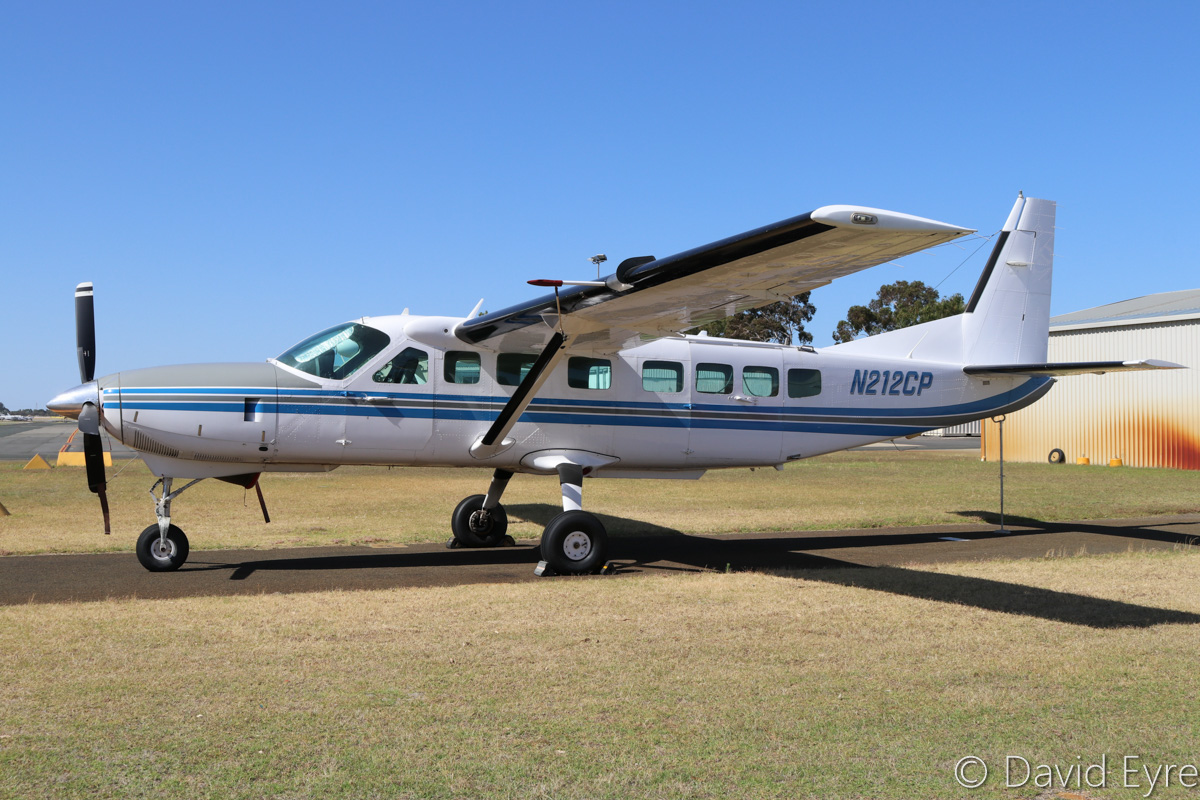 N212CP Cessna 208B Grand Caravan (MSN 208B0531) of TJ Air Holdings Pty Ltd at Jandakot Airport – Sat 10 December 2016. Soon to depart to the USA, this was previously operated by West Australian Skydiving Academy as VH-PON, but was registered N212CP on 8 November 2016which it wore before coming to Australia. Built in 1996, ex VH-PON, N212CP. Photo © David Eyre