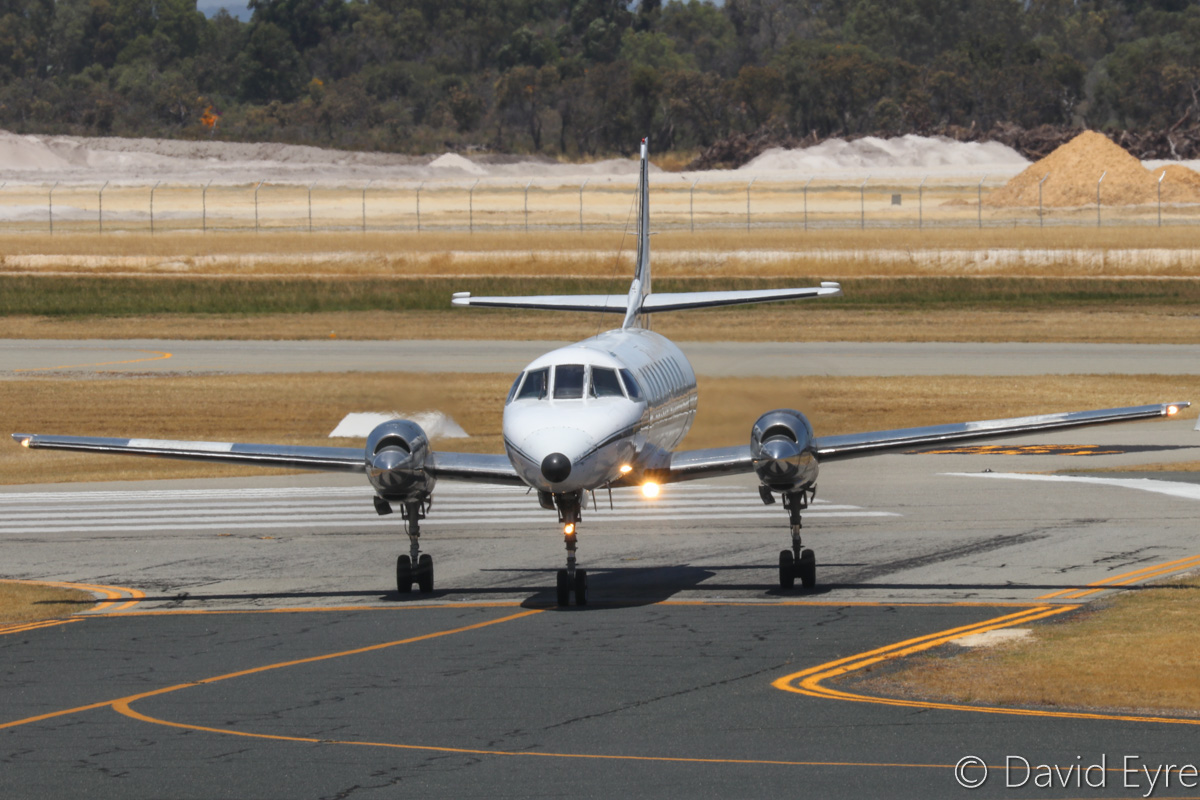 VH-KGX Swearingen SA226TC Metro II (MSN TC-326) of Casair at Jandakot Airport - Sat 10 December 2016. Taxying in after landing on runway 30, arriving from Port Hedland at 12:06pm. Photo © David Eyre