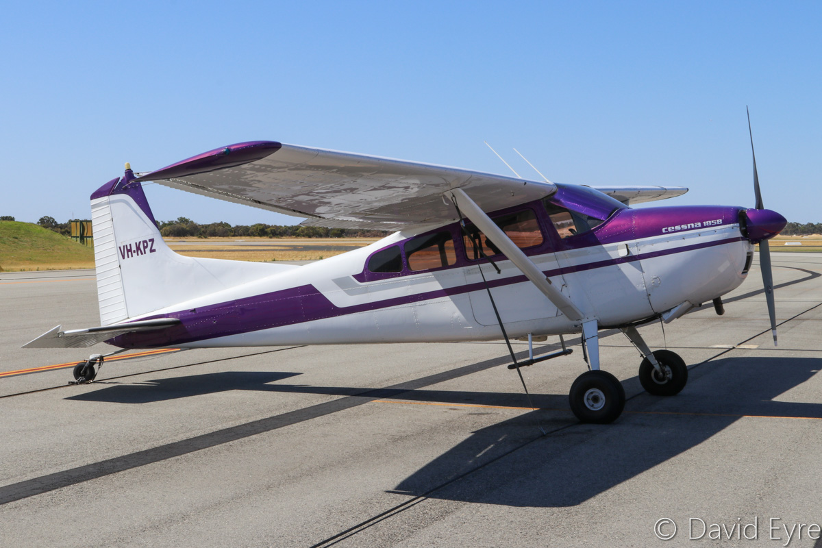 VH-KPZ Cessna 185B Skywagon (MSN 1850549) owned by Fleur Vaughan of Moree, NSW, at Jandakot Airport - Sat 10 December 2016. This aircraft has been conducting aerial photography over Perth, on flights of 4 - 4.5 hours. It used to be based at Jandakot from 1963 - 2000, operating as a photo survey aircraft for Kevron Photographics (hence the registration). Built in 1963, ex VH-POO, VH-KPW, VH-KPA, (VH-KPC), N2549Z. Photo © David Eyre