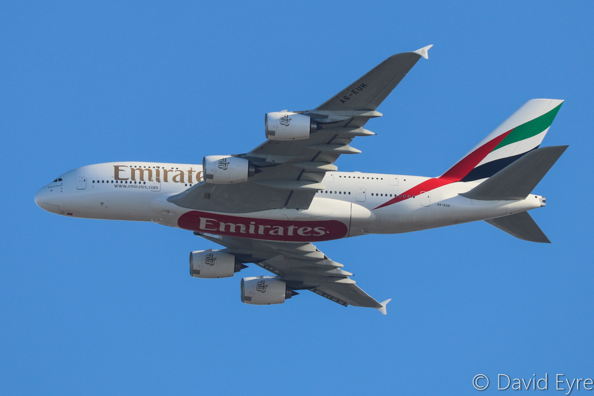 A6-EUH Airbus A380-861 (MSN 220) of Emirates, over the northern suburbs of Perth - Tue 13 December 2016. Second visit to Perth by A6-EUH. Flight EK420 from Dubai, flying northeast along the 9DME arc, 2 kilometres away from the camera at 2,900 feet on descent, before turning right to join the approach to Perth Airport's runway 21. Photo © David Eyre