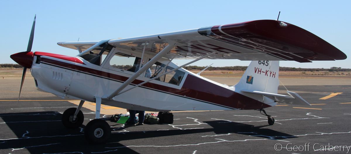 VH-KYH / SPOTTER 645 American Champion 8GCBC Scout (MSN 566-2014) of the Department of Parks and Wildlife, at Meekatharra Airport - Fri 30 September 2016. Built in 2014. Part of a fleet of American Champion 8GCBC Scout aircraft used as fire spotter aircraft for forest patrols in the south-west of WA. Photo © Geoff Carberry