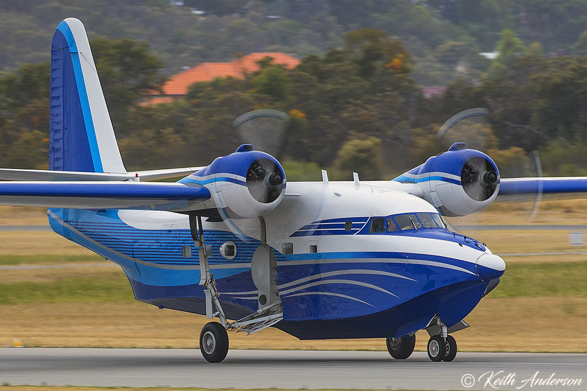 VH-NMO Grumman Albatross leaves Perth, heading for Avalon in