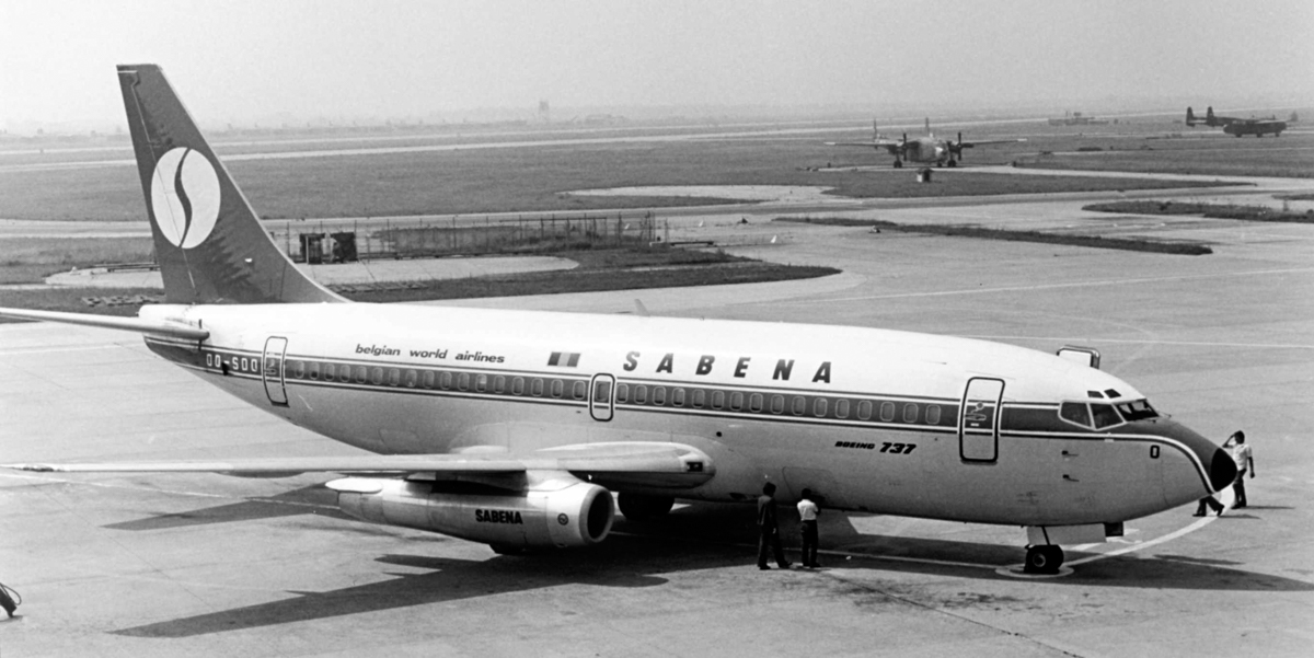 OO-SDO Boeing 737-229 Advanced (MSN 21177/433) of Sabena, at Pisa International Airport, Italy - mid 1970s. Later became G-CEAJ, VH-OZX and N737HL - one of the two ex OzJet 737s to be preserved at White Gum Air Park. Photo © Piergiuliano Chesi (Creative Commons licence)
