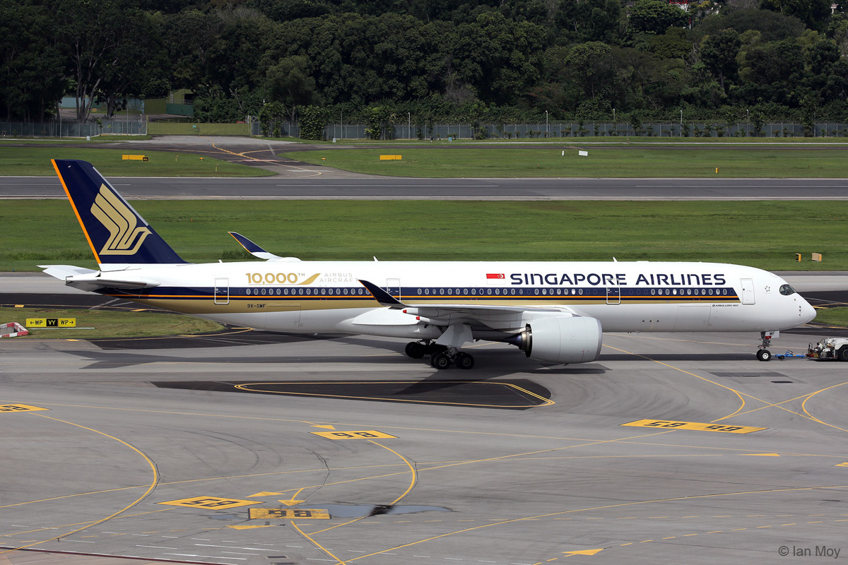 9V-SMF Airbus A350-941 (MSN 054) of Singapore Airlines at Singapore - 27 December 2016. 10,000th Airbus aircraft produced. Photo © Ian Moy