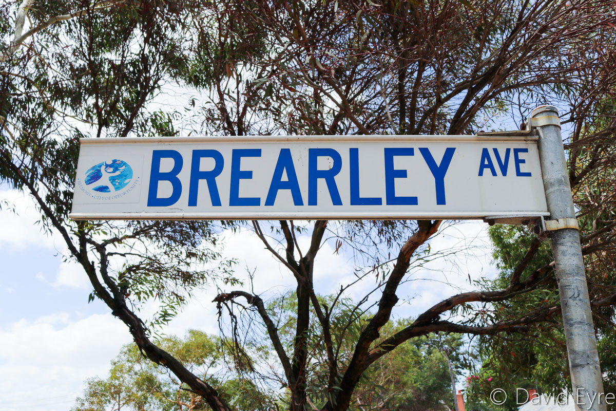 Brearley Avenue sign, Perth Airport - Thu 12 January 2017. Brearley Avenue was closed to traffic on the night of 16-17 January 2017, for construction of the new Belmont (Airport West) Railway Station, part of the Forrestfield - Airport Link rail project. Photo © David Eyre