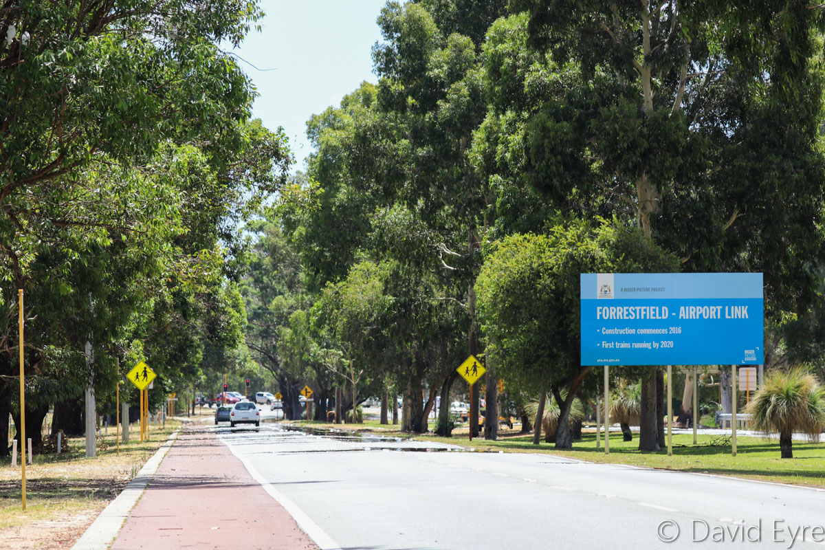 Brearley Avenue, facing westwards towards Great Eastern Highway, Perth Airport - Thu 12 January 2017. Brearley Avenue was closed to traffic on the night of 16-17 January 2017, for construction of the new Belmont (Airport West) Railway Station, part of the Forrestfield - Airport Link rail project. Photo © David Eyre