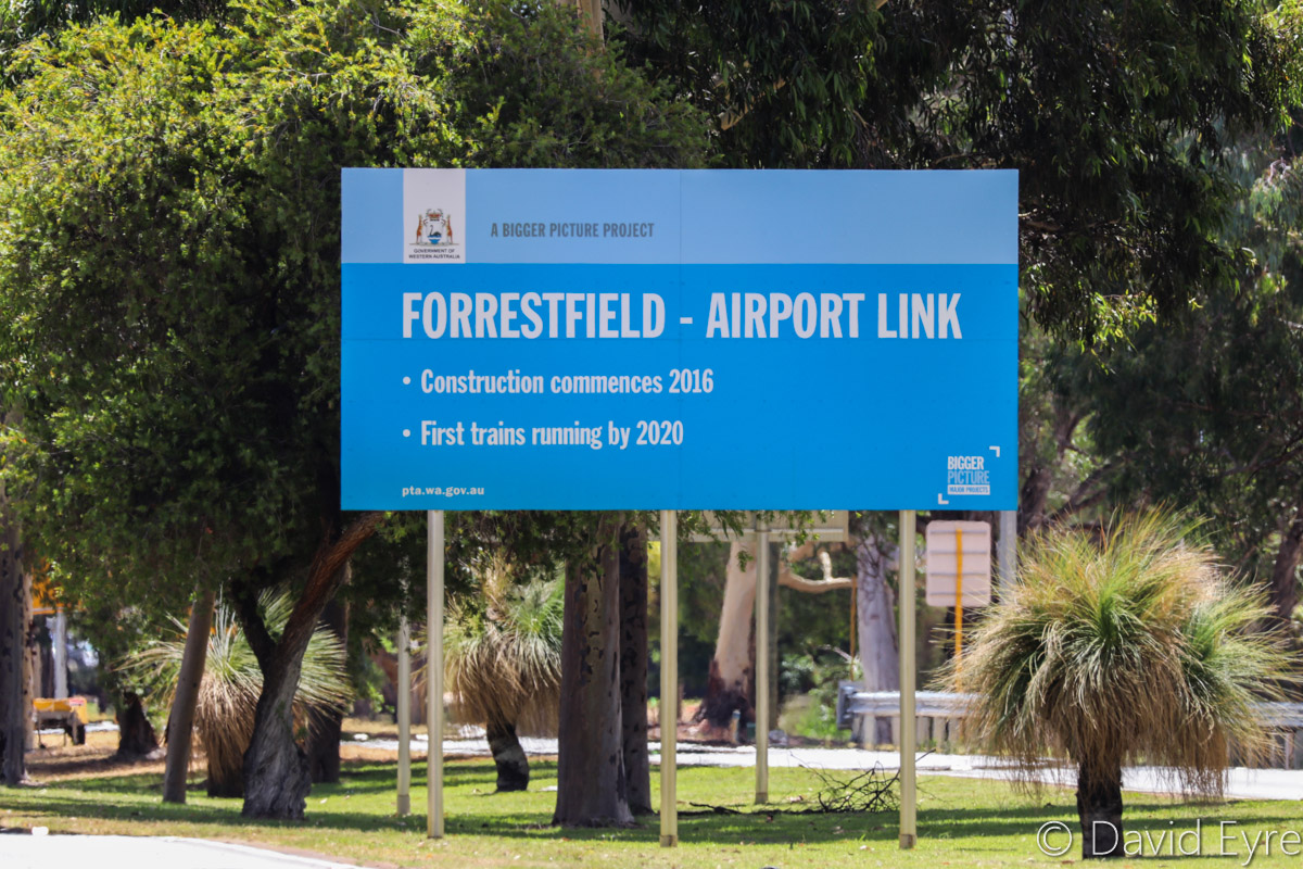 Forrestfield-Airport Link sign on Brearley Avenue, facing westwards towards Great Eastern Highway, Perth Airport - Thu 12 January 2017. Brearley Avenue was closed to traffic on the night of 16-17 January 2017, for construction of the new Belmont (Airport West) Railway Station, part of the Forrestfield - Airport Link rail project. Photo © David Eyre