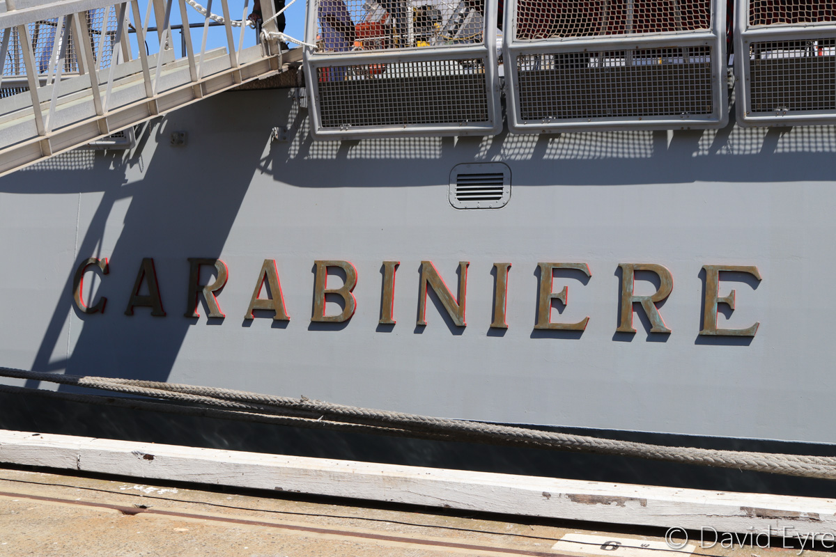 ITS Carabiniere (F593), a Bergamini-class anti submarine frigate of the Italian Navy, at Victoria Quay, Fremantle - Thu 26 January 2017. Photo © David Eyre