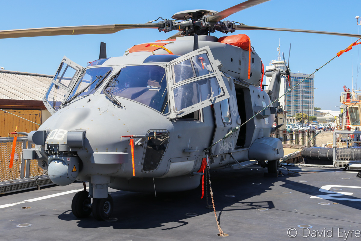 MM81584/3-08 NHIndustries SH-90A (NH90 NFH) (MSN 1104/HITN08) of GRUPELICOT 5 (5° Gruppo Elicotteri), Italian Navy, aboard ITS Carabiniere (F593), a Bergamini-class anti-submarine frigate of the Italian Navy, at Victoria Quay, Fremantle - Thu 26 January 2017. The crew consists of two pilots and two systems operators working on mission consoles in the rear. The modular mission equipment enables the SH-90 to be rapidly reconfigured to suit a mission. For example, the cabin can be stripped and the sonar removed to create a transport configuration with space for up to 14 personnel. The ship was visiting as part of a promotional and cooperation tour of Australia and Southeast Asia. Photo © David Eyre