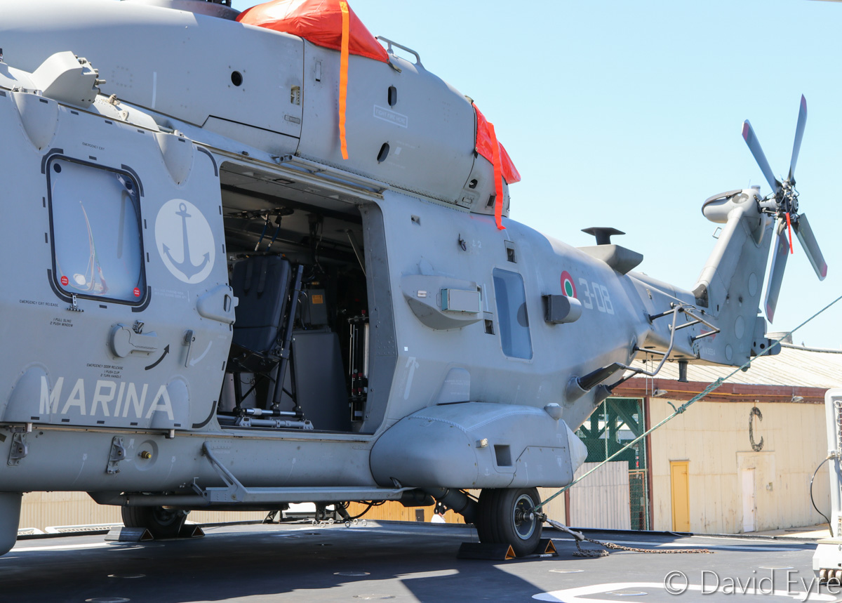 MM81584/3-08 NHIndustries SH-90A (NH90 NFH) (MSN 1104/HITN08) of GRUPELICOT 5 (5° Gruppo Elicotteri), Italian Navy, aboard ITS Carabiniere (F593), a Bergamini-class anti-submarine frigate of the Italian Navy, at Victoria Quay, Fremantle - Thu 26 January 2017. The ship was visiting as part of a promotional and cooperation tour of Australia and Southeast Asia. Photo © David Eyre