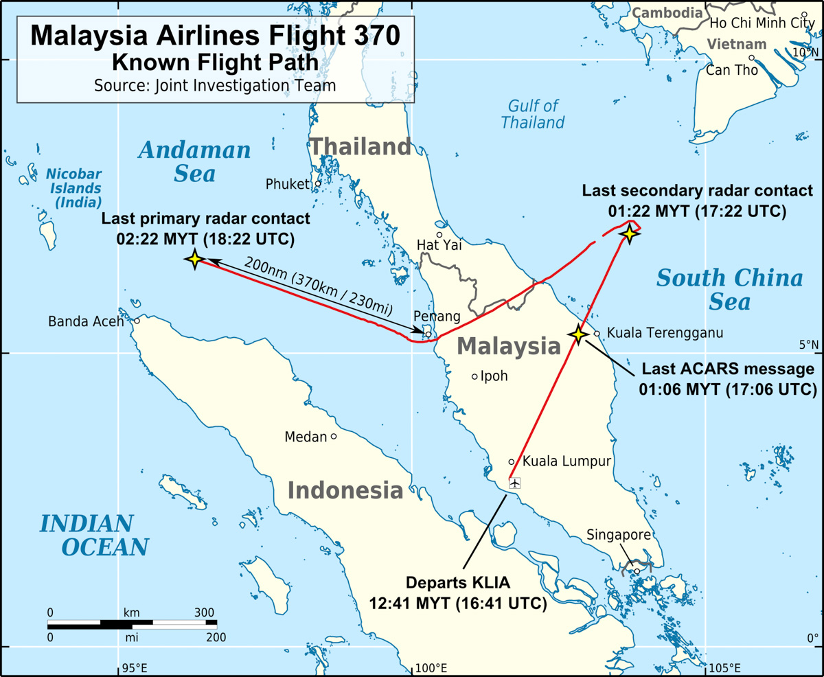 Malaysia Airlines Flight 370 Known Flight Path