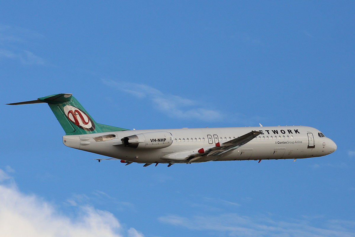 VH-NHP Fokker 100 (MSN 11399) of Network Aviation, at Perth Airport – 1 February 2017.