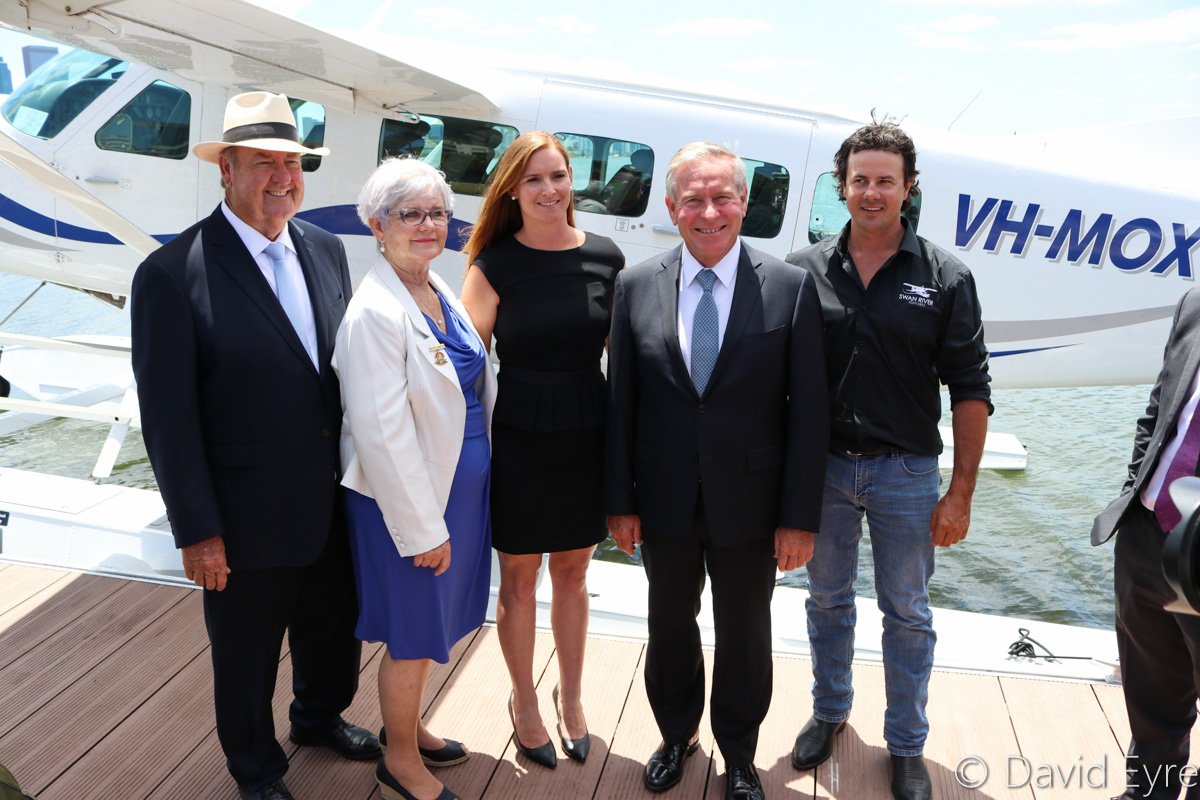 (L-R): Member for South Perth John McGrath MLA, City of South Perth Mayor Sue Doherty, Kristy Bailey of Swan River seaplanes, Western Australian Premier and Tourism Minister Colin Barnett and Troy Thomas of Swan River Seaplanes, announcing the launch of Swan River Seaplanes' seaplane tourism services between Perth's Swan River and Margaret River, Queen Street Jetty, South Perth - Mon 23 January 2017. Behind is VH-MOX Cessna 208 Caravan (amphibious seaplane) (MSN 20800227) operated by Swan River Seaplanes (West Coast Air Services Pty Ltd/Avanova Pty Ltd). Photo © David Eyre