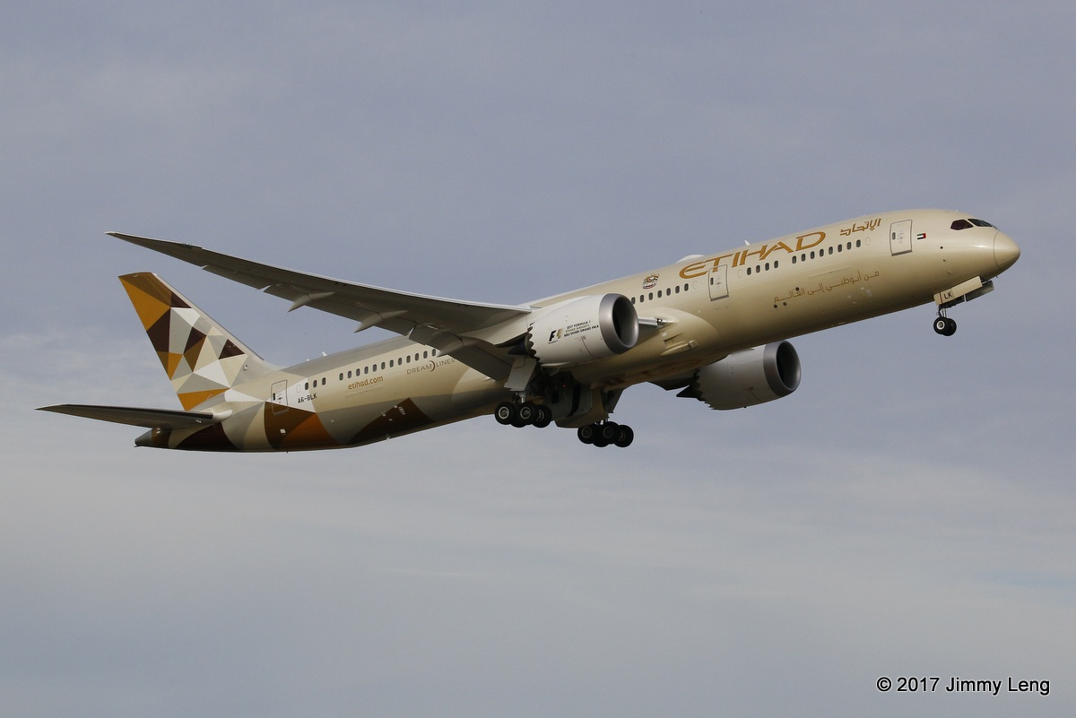 A6-BLK Boeing 787-900 (MSN 39654/520) of Etihad Airways departing Perth Airport at 5.24pm operating EY487 on its First Visit to Perth - 1 Feb 2017 The aircraft was ferried from Paine Field to Abu Dhabi and was delivered to Etihad on 21 Jan 2017, with the first revenue service AUH to MAN operated on 23 Jan 2017. Photo © Jimmy Leng