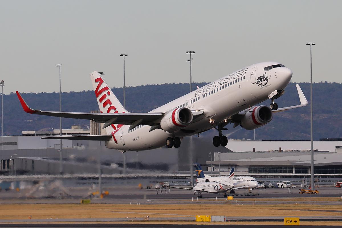 VH-VON Boeing 737-8FE (MSN 33795/1375), named 'Greenmount Point', of Virgin Australia, at Perth Airport – 1 February 2017.