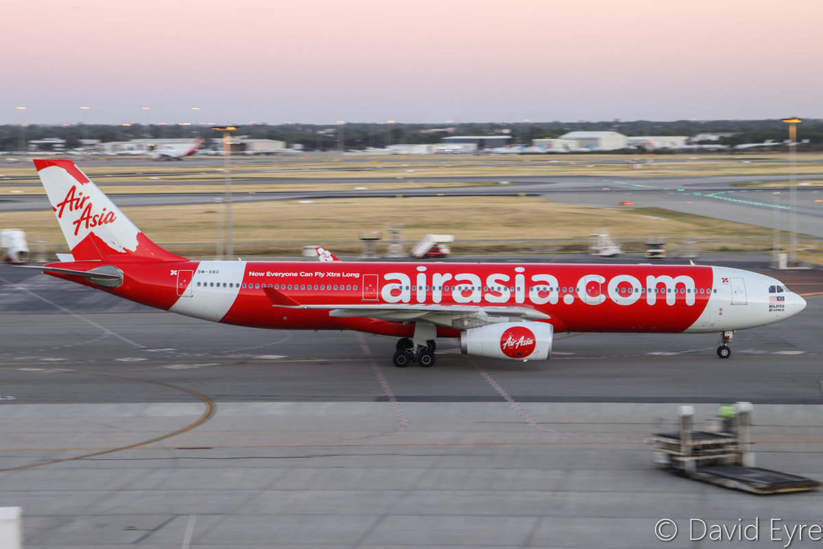 9M-XBC Airbus A330-343X (MSN 1659) of AirAsia X, at Perth Airport - Mon 6 February 2017. Flight D7236 from Kuala Lumpur, taxying in at 5:46am. Photo © David Eyre