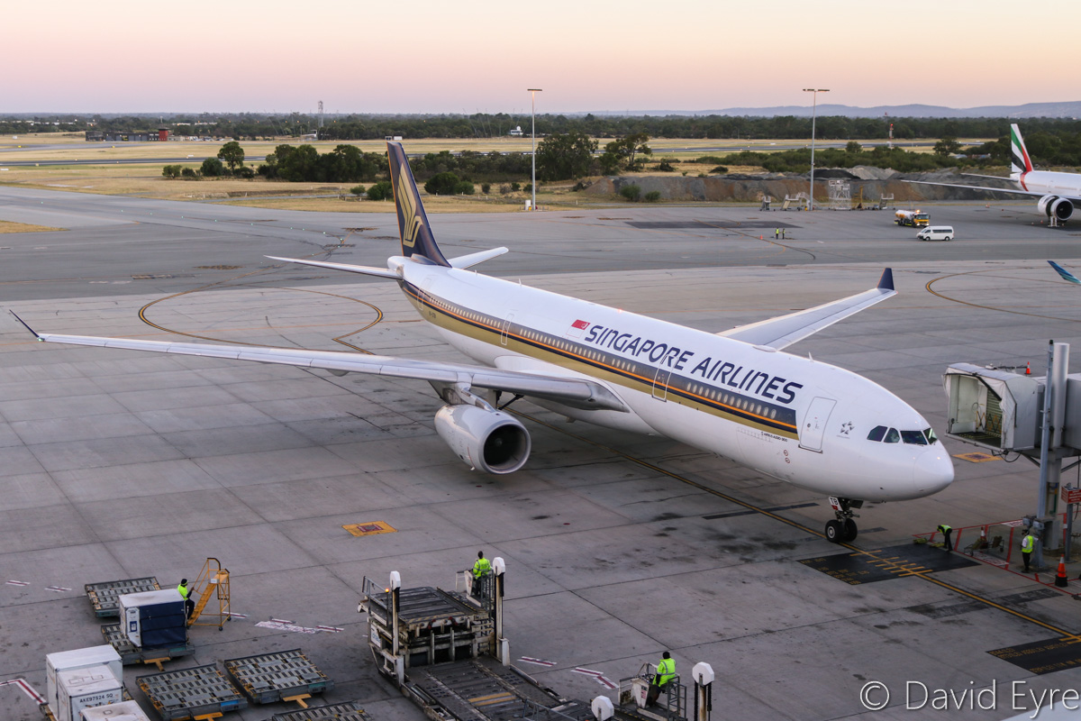 9V-STB Airbus A330-343X (MSN 983) of Singapore Airlines, at Perth Airport - Mon 6 February 2017. Flight SQ225 from Singapore, taxying in to bay 153 at 5:45am. Photo © David Eyre