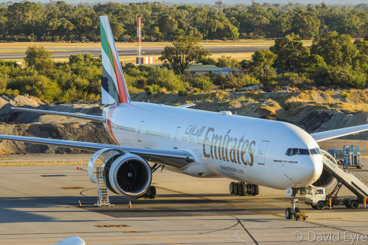 A6-EGH Boeing 777-31H ER (MSN 35585/969) of Emirates, at Perth Airport - Mon 6 February 2017. Flight EK424 from Dubai was supposed to be operated by an Airbus A380 and arrive at 1:35am on Sunday 5 February. However, it was substituted by this Boeing 777-300ER, which arrived at 11:54pm on Sunday night, and departed empty as EK2669 back to Dubai at 3:23pm today. Photo © David Eyre