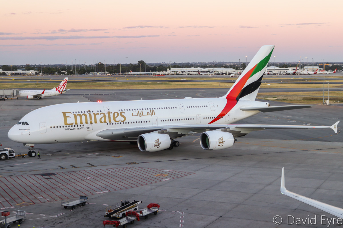 A6-EUF Airbus A380-861 (MSN 218) of Emirates at Perth Airport – Mon 6 February 2017. The final morning A380 EK425 departure to Dubai, pushing back from Bay 151 at 5:47am. This service is being downsized to a Boeing 777 from 7 February 2017. Photo © David Eyre