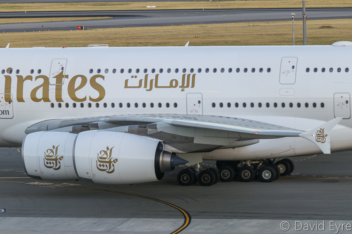A6-EUF Airbus A380-861 (MSN 218) of Emirates at Perth Airport – Mon 6 February 2017. The final morning A380 EK425 departure to Dubai, starting engines after pushing back from Bay 151 at 5:50am. This service is being downsized to a Boeing 777 from 7 February 2017. Photo © David Eyre