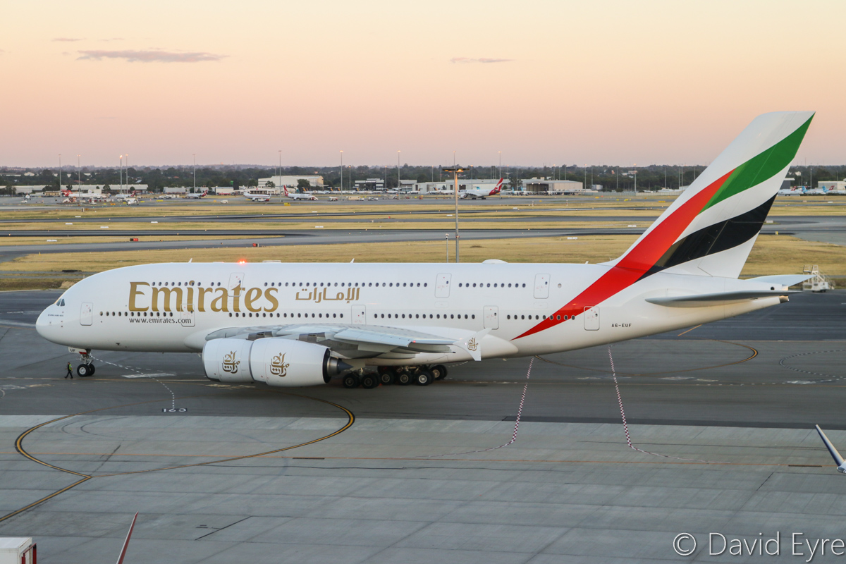 A6-EUF Airbus A380-861 (MSN 218) of Emirates at Perth Airport – Mon 6 February 2017. The final morning A380 EK425 departure to Dubai, starting engines after pushing back from Bay 151 at 5:51am. This service is being downsized to a Boeing 777 from 7 February 2017. Photo © David Eyre