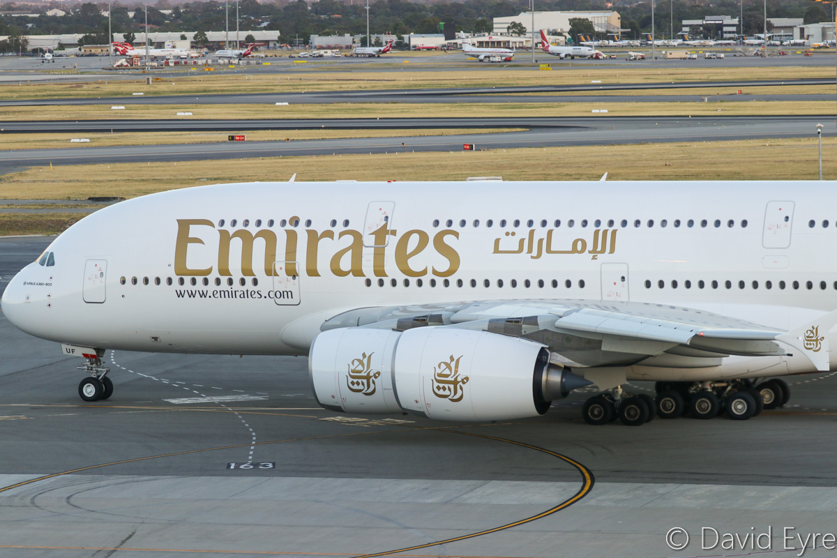 A6-EUF Airbus A380-861 (MSN 218) of Emirates at Perth Airport – Mon 6 February 2017. The final morning A380 EK425 departure to Dubai, taxying out to runway 03 at 5:52am. This service is being downsized to a Boeing 777 from 7 February 2017. Photo © David Eyre