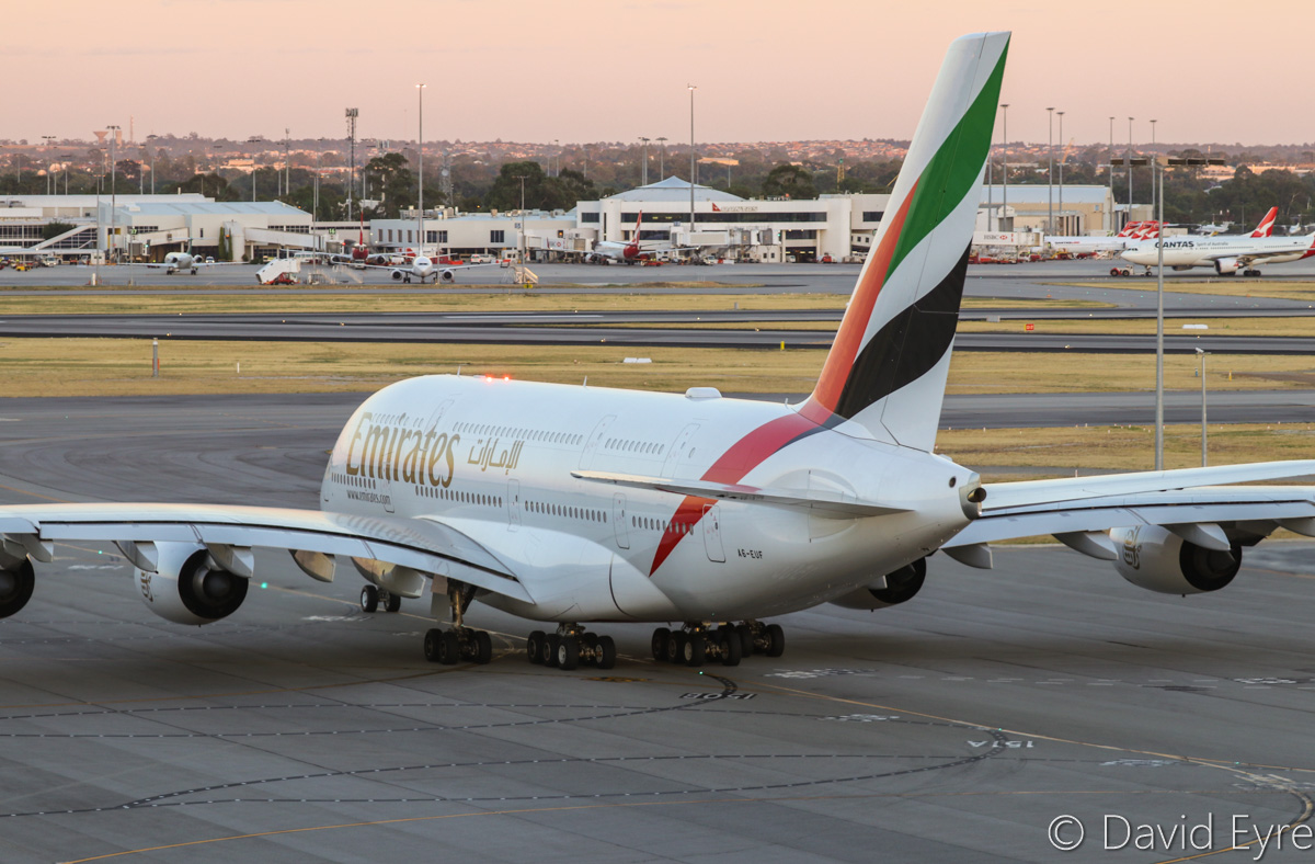 A6-EUF Airbus A380-861 (MSN 218) of Emirates at Perth Airport – Mon 6 February 2017. The final morning A380 EK425 departure to Dubai, taxying out to runway 03 at 5:54am. This service is being downsized to a Boeing 777 from 7 February 2017. Photo © David Eyre