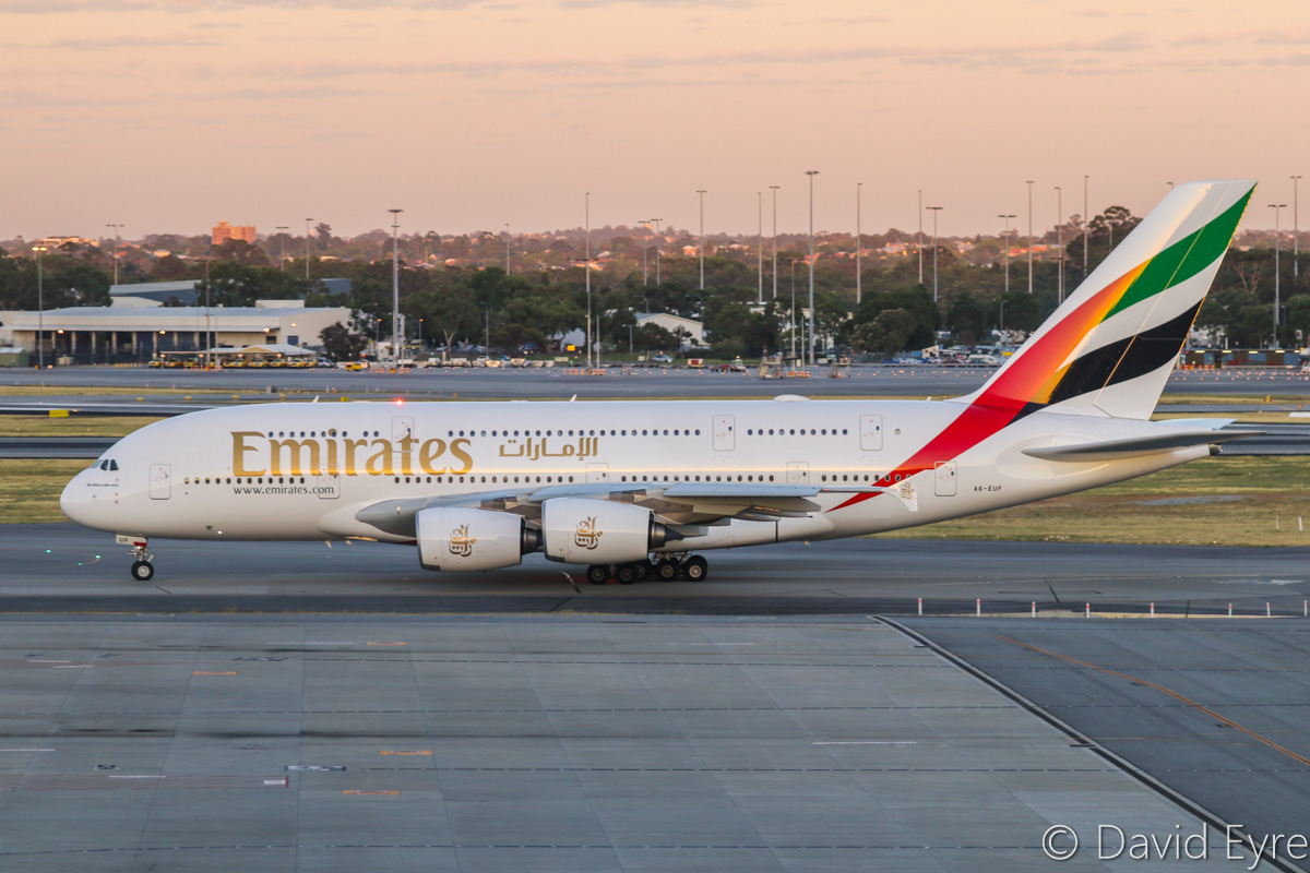 A6-EUF Airbus A380-861 (MSN 218) of Emirates at Perth Airport – Mon 6 February 2017. The final morning A380 EK425 departure to Dubai, taxying out to runway 03 at 5:55am. This service is being downsized to a Boeing 777 from 7 February 2017. Photo © David Eyre