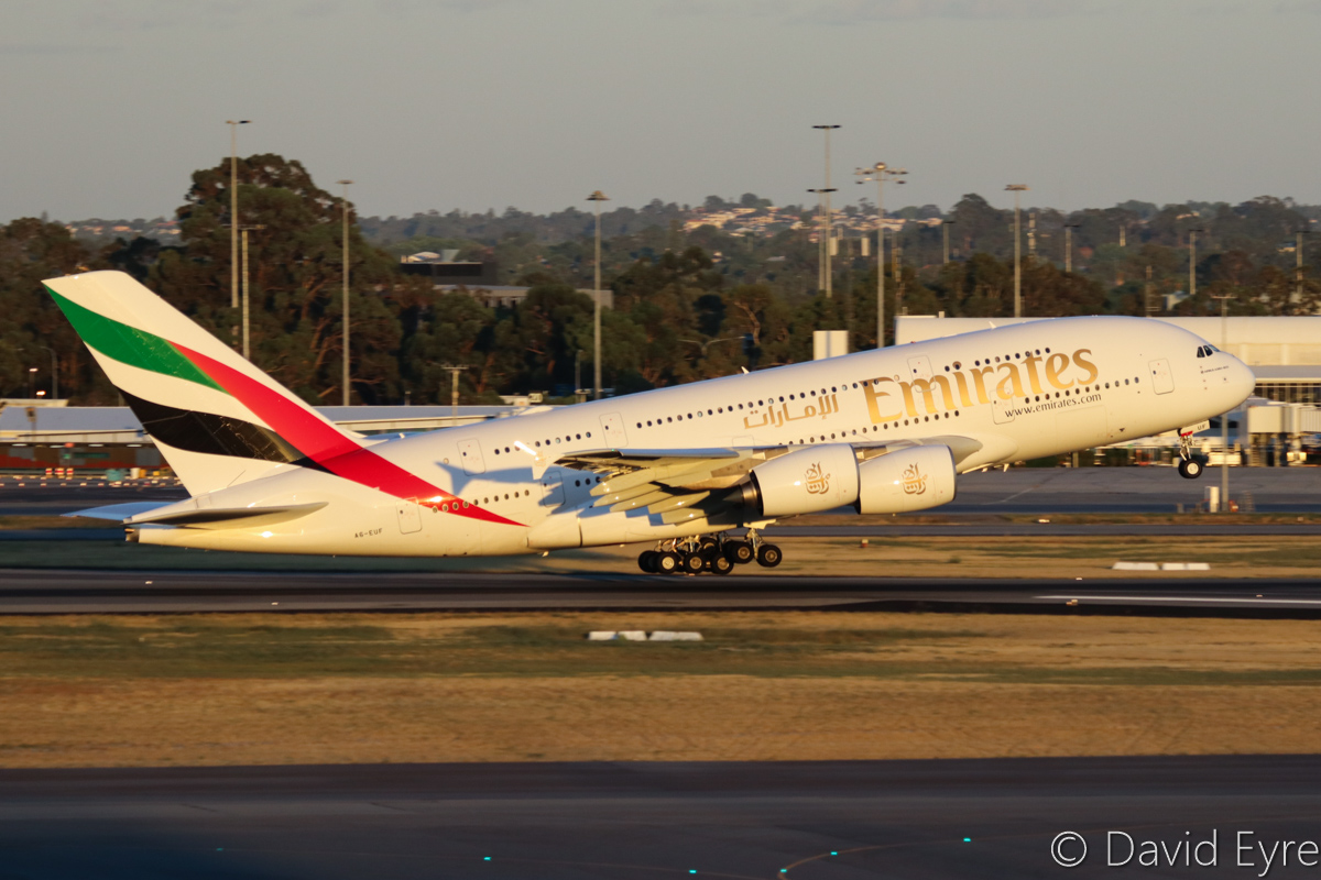 A6-EUF Airbus A380-861 (MSN 218) of Emirates at Perth Airport – Mon 6 February 2017. The final morning A380 EK425 departure to Dubai, taking off from runway 03 at 6:02am. This service is being downsized to a Boeing 777 from 7 February 2017. Photo © David Eyre
