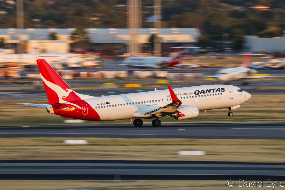 VH-VXJ Boeing 737-838 (MSN 33480/1157) of Qantas, named 'Coober Pedy', at Perth Airport - Mon 6 February 2017. Taking off from runway 03 at 5:57am as QF1122 to Port Hedland. Photo © David Eyre
