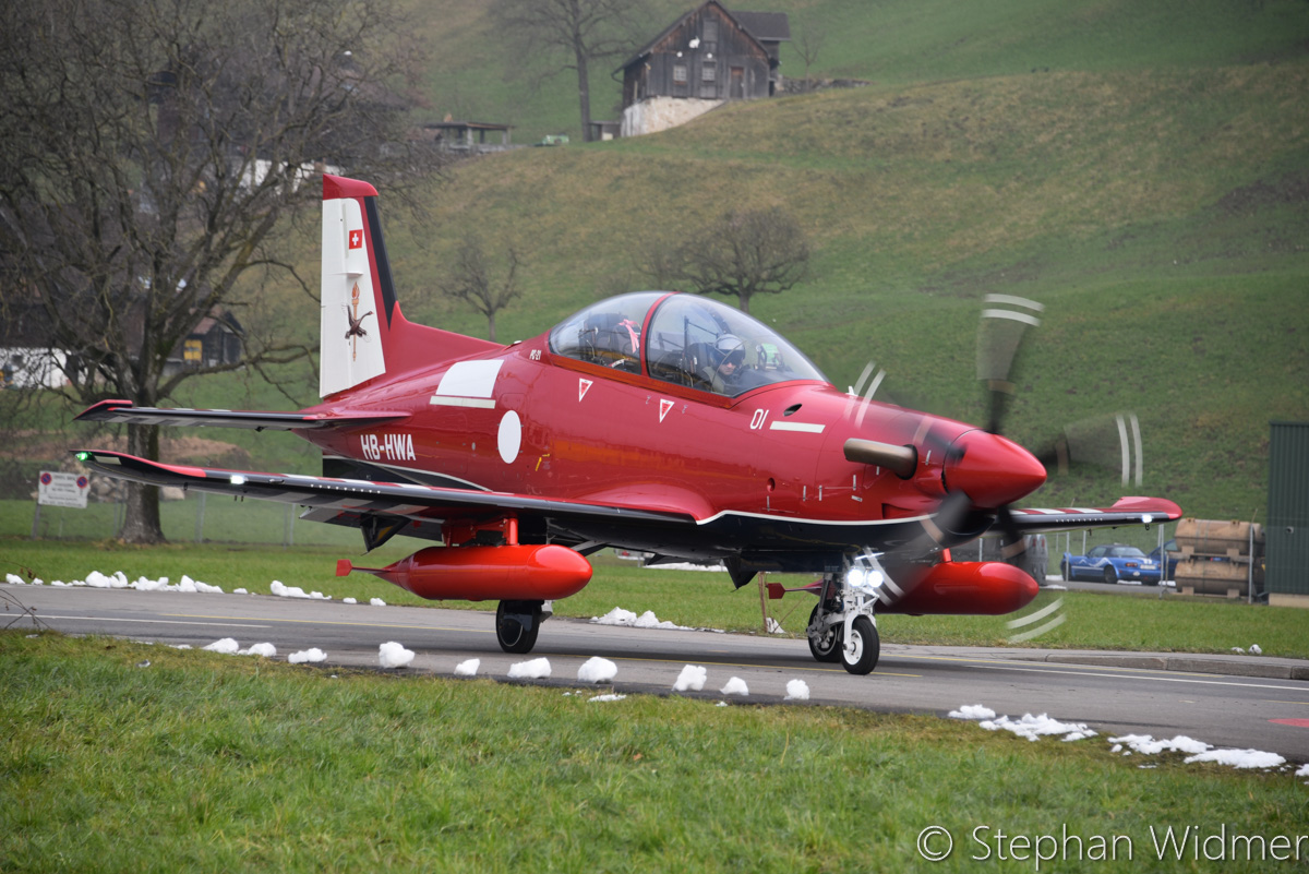 A54-001/HB-HWA Pilatus PC-21 (MSN 234) of the Royal Australian Air Force, in 2 FTS markings, departing Stans, Switzerland - Fri 10 February 2017. Departing the Pilatus Aircraft facility at Stans, Switzerland on its delivery flight to Australia, in company with A54-002/HB-HWB. Photo © Stephan Widmer