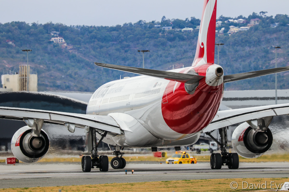 VH-EBB Airbus A330-202 (MSN 522) named 'Albany', of Qantas, at Perth Airport - Sat 11 February 2017. Flight QF598 to Brisbane, lining up on runway 06 for take-off at 11:31am. Photo © David Eyre