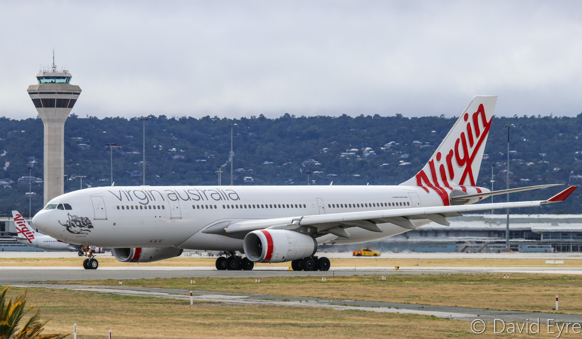 VH-XFJ Airbus A330-243 (MSN 1561) of Virgin Australia, named 'Gnaraloo Bay', at Perth Airport – Sat 11 February 2017. Flight VA467 to Brisbane, lining up on runway 06 at 9:23am for take-off. Photo © David Eyre