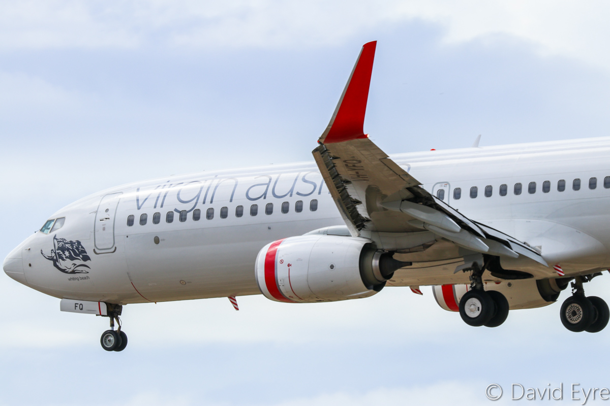 VH-YFQ Boeing 737-8FE (MSN 41010/4494) of Virgin Australia, named 'Whiting Beach', at Perth Airport - Sat 11 February 2017. VA679 from Melbourne, landing on runway 06 at 10:06am. Photo © David Eyre