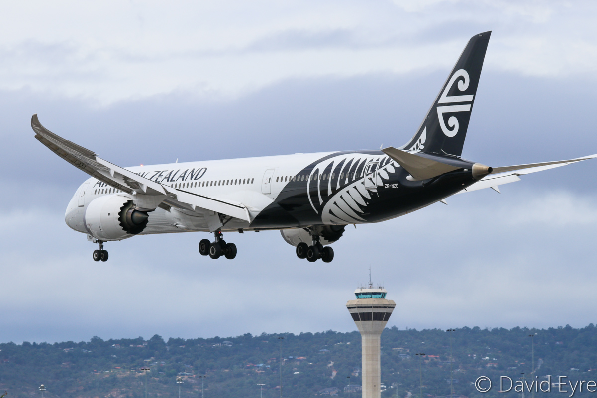 ZK-NZD Boeing 787-9 Dreamliner (MSN 41989/133) of Air New Zealand at Perth Airport - Sat 11 February 2017. The second 787-9 built - was used in the flight test program. It was then refurbished, repainted and delivered to Air New Zealand. Flight NZ175 from Auckland, landing on runway 06 at 12:45pm. Photo © David Eyre