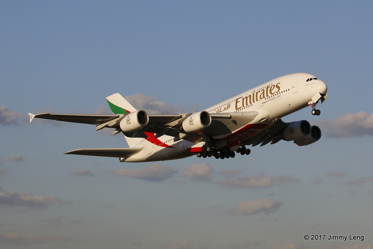 Emirates A6-EUH A380-800 (MSN 220) departing PER for Dubai as EK421D on runway 21 in a rare PER evening departure at 1807hrs Thu 16 Feb 2017. The aircraft originally departed PER bound for Dubai the previous night but returned to PER several hours later © Jimmy Leng
