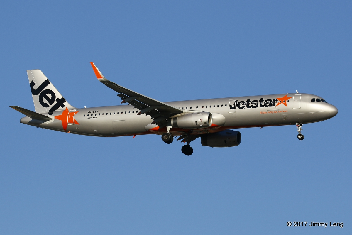 Jetstar A321-231 (WL) VH-VWQ (MSN 7384) operating JQ972 on short finals runway 03 at 0723hrs Sat 18 Feb 2017. Sporting the new Airbus winglets, this was its 2nd visit to PER since entering revenue service on 8 Dec 2016. © Jimmy Leng